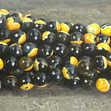 black and yellow fire agate faceted beads - faceted agate gemstone beads - agate jewelry beads supplies -wholesale fire agate beads -15 inch