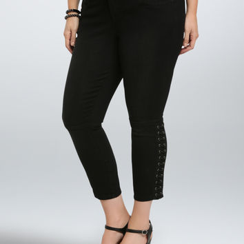 Torrid Skinny Jean - Black Rinse With Lace-Up Sides (Tall)
