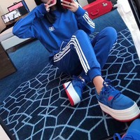 """Balenciaga"" Women Casual Letter Multicolor Stripe Zip Hooded Long Sleeve Trousers Set Two-Piece Sportswear"