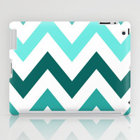 TRI-TONE TEAL CHEVRON iPad Case by nataliesales | Society6