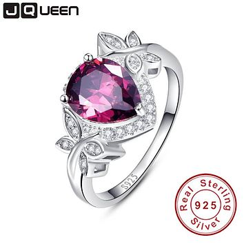 JQUEEN Genuine Garnet Rings For Women Real 925 Sterling Silver Jewelry 4.1Ct Pear Cut Natural Charm Jewelry Vingtage Gift