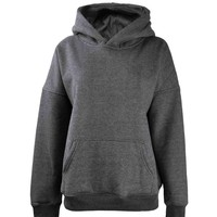 ZLYC Women Basic Fleece Hoodie Sweatshirts Pullover Sweater with Kangaroo Pocket, Light Gray