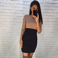 New Arrival 2017 Fall Women Ukraine Fashion Casual Mini Dress Autumn Winter Three Quarter Long Sleeve Bodycon Sexy Dresses