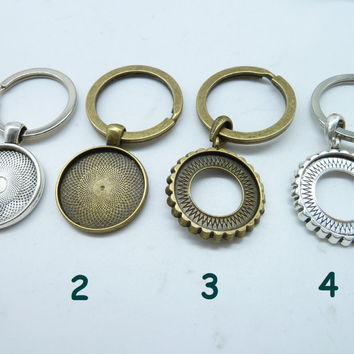 3pcs Glass cabochon Pendant Key Rings, key Chains with Dome Tray charms