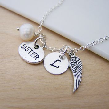 Tiny Sister Angel Wing Sisters Charm Memory Necklace Swarovski Birthstone Initial Personalized Sterling Silver Necklace / Gift for Her