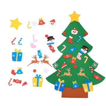 Kids DIY Felt Christmas Tree with Ornaments Children Christmas Gifts for New Year Door Wall Hanging Xmas Decoration