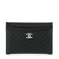 CHANEL Caviar Chevron Quilted Card Holder Black