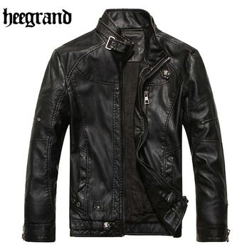 HEE GRAND 2017 New Arrival Male Washing PU Leather Motorcycle Jackets Men Casual Suede Overcoat Chaqueta De Cuero MWP397