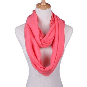 20 Colors Fashion Solid Color Scarves Light weight Circle Loop Women Infinity Scarf Plain Snood For Ladies Shawl Cheap Scarfs