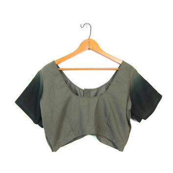 Cropped India Blouse Drab Green Tshirt Crop Top Bohemain Bralette Blouse Ombre Sleeves Mini Top Vintage Womens Medium