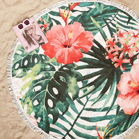 Tropical Floral Beach Towel