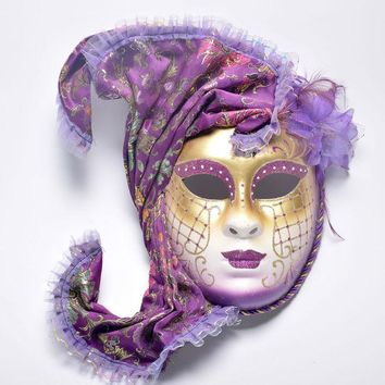 ONETOW Halloween masquerade Venice, antique painting flowers full face party show female mask
