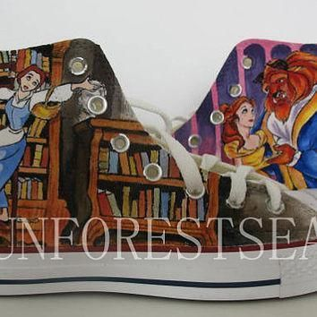custom converse hand painted shoes canvas shoes beauty and the beast