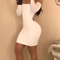 New Long Sleeve 2017 Women Solid color Backless Mini Dresses...