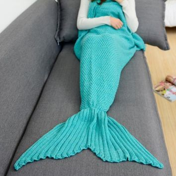 Cozy Mint Green Soft Comfortable Knitted Mermaid Sofa Blanket