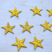 1 Dozen Tiny Gold Embroidery Star Patches with Fine Metallic Thread. Iron on Backing