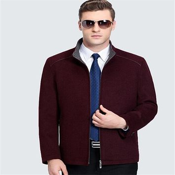 Winter Men Wool Coat Smart Casual Jacket Business Overcoat Men Windbreaker