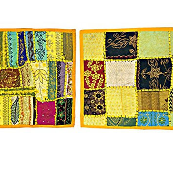2 Indian Cushion Covers Vintage Patchwork Pillow Cover Bohemian Home Deco