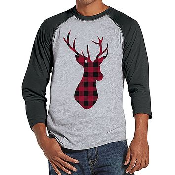 7 at 9 Apparel Men's Plaid Deer Christmas Baseball Tee