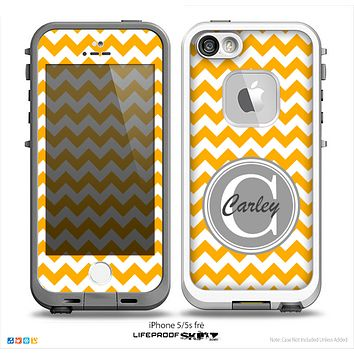 The Orange & White Chevron Monogram Name Script Skin Gray v1 Skin for the iPhone 5-5s Fre LifeProof Case