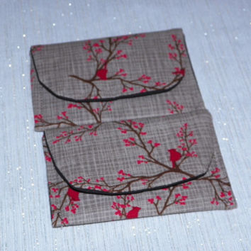 Cardinal and Red Berries on Tan Gift Card Holder Case Set of Two