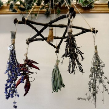 Pagan Wiccan Yule Gift Oak Twig Pentagram Herb Hanger / Drier.. Handmade Witch Kitchen Decoration.