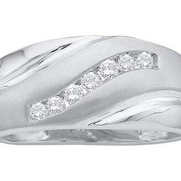Diamond Cluster Mens Band in 10k White Gold 0.25 ctw