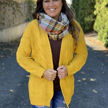 Mustard Chunky Cable Cardigan
