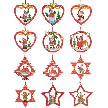 12PCS Hanging Pendants Santa Christmas Decoration