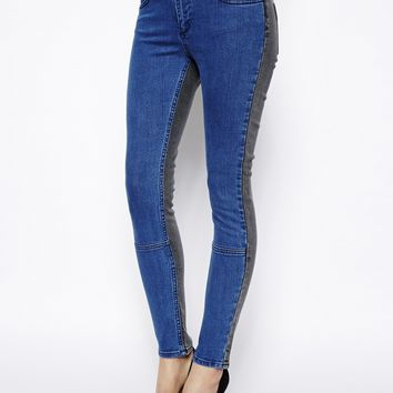ASOS Whitby Low Rise Skinny Ankle Grazer Jeans in Charcoal and Blue