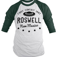 Shirts By Sarah Men's Roswell New Mexico Shirt Alien Shirts UFO 3/4 Sleeve Raglan