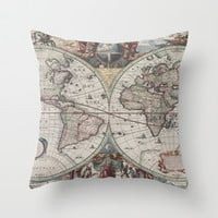 Vintage Map of The World (1630) Throw Pillow by BravuraMedia | Society6
