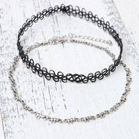 With Love From CA Elephant & Tattoo Choker Set - Womens Jewelry - Silver - NOSZ
