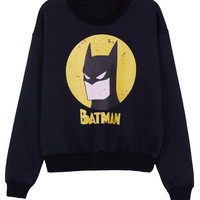 ROMWE | ROMWE Batman Print Long-sleeved Black Sweatshirt, The Latest Street Fashion
