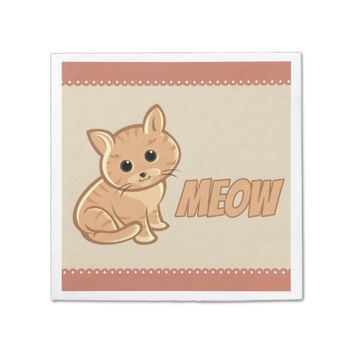 Tan Brown Cute Cat Paper Napkins