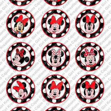 """Minnie Mouse 1"""" Round Circles Bottle Cap Images Cupcake Toppers Instant Download Digital Emailed 4x6"""
