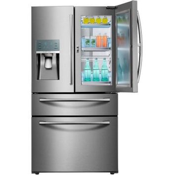 Samsung 27.8 cu. ft. Food Showcase 4-Door French Door Refrigerator in Stainless Steel-RF28JBEDBSR - The Home Depot