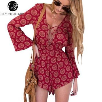 Lily Rosie Girl Boho Red Floral Sexy Lace Up V Neck Romper Playsuit Women Autumn Hollow Out Overalls Backless Short Jumpsuit
