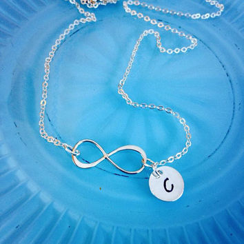 Sideways Sterling Silver Infinity Necklace with Monogram or Greek Letter Option!
