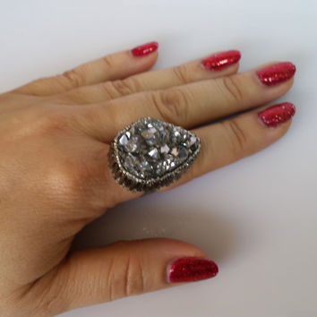 Silver Titanium Ring, Large Statement Ring, Silver Chunky Ring, Druzy Ring, Silver Druzy Ring, Silver Cocktail Ring, One of a kind Rings