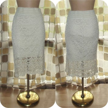 Vintage 90s Natural White Crochet Lace Wiggle Skirt BOHO Hippie Grunge XXL 1X