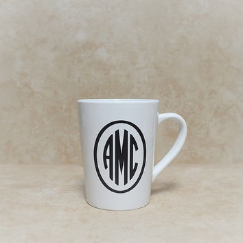 Custom Monogram Coffee Mug.  Personalize Your Ceramic Coffee Mug With Initials.  Add Paws For No Extra Charge.  Coffee & Dog Lover Gift!