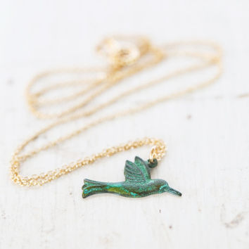 Hummingbird Necklace Symbolic Jewelry Tiny Charm Green Patina - Tiny Necklace - Simple Jewelry