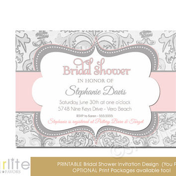 Pink Gray Shimmer - Bridal Shower Invitation Pink Grey - vintage style, distressed chic PRINTABLE INVITATION DESIGN