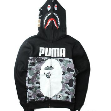 Gray BAPE & PUMA Print Long Sleeve Zipper Shark Hoodies Sweater Coat