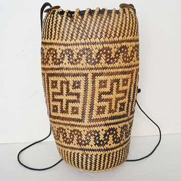 braided backpack, straw bag, hippie backpack, beach bag, artisan backpack, african bag, african art, braided backpack, tube bag, diamond bag