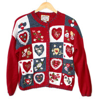 Lots of Hearts Patchwork Tacky Ugly Valentines Sweater
