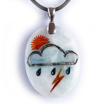 Sunshine on a Rainy Day Weather Necklace - Engraved Stone Pendant