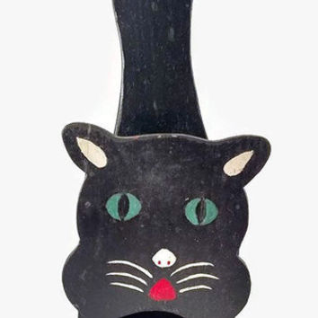 Vintage Cat Match Holder, Primitive Black Cat, Vintage Black Cat, Cat Wall Decor, Vintage Home Decor
