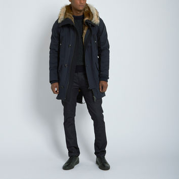 Yves Salomon Felt Detail Parka with Fur Trimmed Vest in Navy/Anthracite